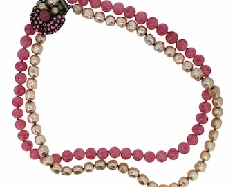 Original by Robert 1950s Pink Glass and Faux Pearl Vintage Necklace