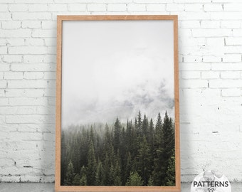 Cloudy winter forest - Minimalist forest print- Printable Wall art - Digital print - Modern Scandinavian design - Photography