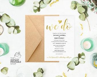 Gold wedding invitation, Gold invitation template, Instant download, Invitation printable invitation, We do invitation, Editable pdf
