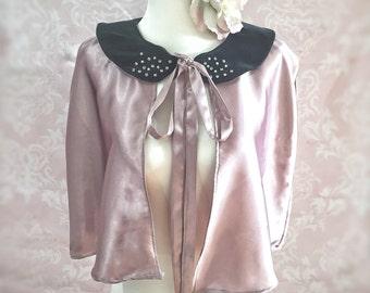 The Mary-Anne-1950's style, pink, black,bed cape, pearl,diamonte,retro, pinup, burlesque. evening, gift, vintage, custom, bridesmaid, bridal