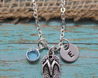 Flip Flop Necklace - Flip Flop Jewelry - Beach Bum Necklace - Summer Charm Necklace - Personalized