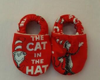 Cat in the Hat Baby Booties