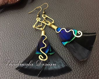 boho wirs wrapped feather earing