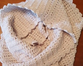 Oatmeal Crochet Infinity Scarf - Soft Ivory Scarf/Cowl