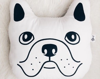 Dog pillow. Black and white dog pillow. Decorative pillow. Animal pillow. Kids pillow.  Kid bedding. Baby gift. Monochrome