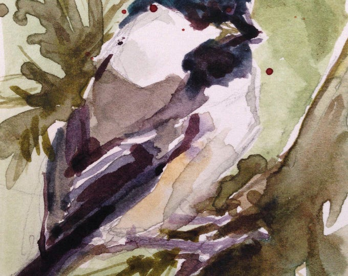 Watercolor Chickadee, ACEO 2.5 x 3.5 inches, Collectable Small Chickadee Artwork, Small Watercolor Chickadee,