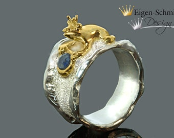 """Frogring """" to be crowned king"""" in 925er Sterling Silver with a partial gold-plating, frogking , silverring, christmas, love, present, ring"""