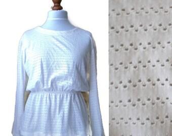 Vintage peplum top, White peplum top, Vintage white top, Boho top, White blouse, Size M/L