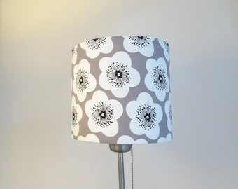 Scandi Flower Lampshade with Taupe White and Black