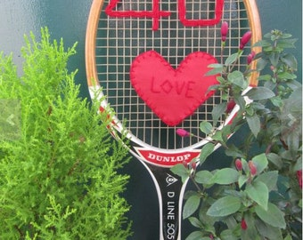 Vintage Wooden Retro Tennis Racket 40 Love art work, a unique vintage gift for a Birthday or Anniversary