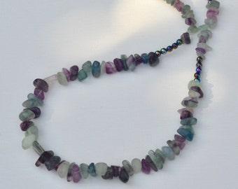 Flourite Gemstone Beaded Necklace