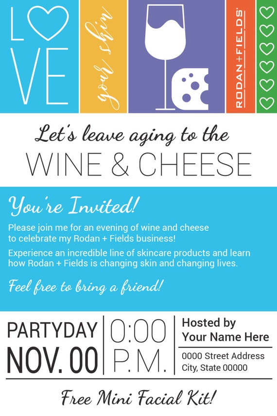 evite design your own rodan and fields big biz launch wine cheese party evite
