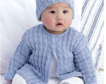Babies Patterned Cardigan and matching Hat, Vintage Knitting Pattern, Digital Download