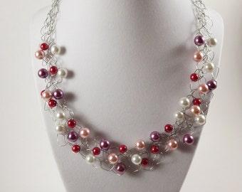 Crochet Necklace / Statement Necklace / Wire Crochet Necklace / Wire Jewelry / Pink and Red Necklace / Statement Necklace for Women / Purple