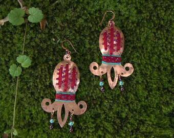 """Large Copper Earrings """"Lily"""" - Boho Style Earrings"""