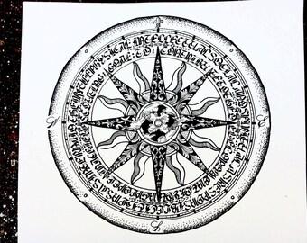 Calligram compass