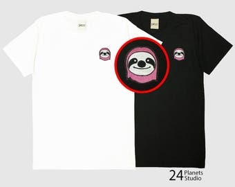 Buy 2 Get 1 Free Pink Sloth Embroidered T-Shirt by 24PlanetsStudio