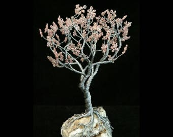Wire Tree Handmade Beaded Bonsai Sculpture - Goblet style