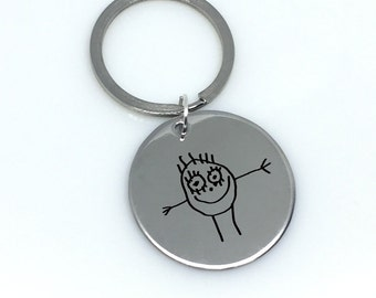 Children's Drawing, Children's Drawing Keychain, Engraved Drawing, Engraved Child's Drawing, Child's Drawing Keychain, Gift for Mom