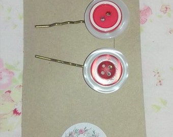 Button Hair Clips/ Slides/Grips Red & White