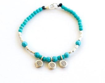 Turquoise & Hilltribe Silver Starchild Bracelet // Children's Jewellery // Kids Jewels // Silver Bracelets // Charm Bracelet // THSSB02