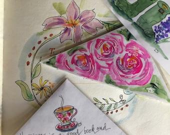 Set of 3 Original Watercolor, laminated corner bookmarks