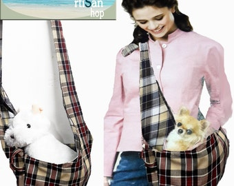 Comfy Sling bag- puppy carrier, chic sling , sling, fabric sling,plaid sling,dog sling,cat sling, rabbit sling, soho sling,pet sling, puppy