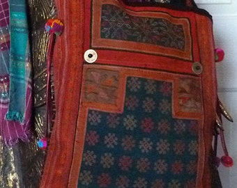 Hmong Embroiderd Carry Bag Hill Tribe textile handmade