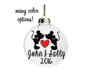 Personalized Disney Ornament, Personalized Christmas Ornament, Disney Christmas Ornament, Mickey and Minnie Ornament, Ornaments for Couples