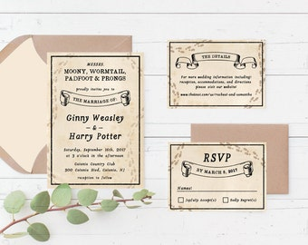 harry potter marauders map printable wedding invitation suite custom printable wedding invite set - Harry Potter Wedding Invitations