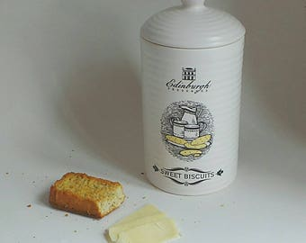 Edinburgh Preserves - Sweet Biscuits - Pottery - Ceramic Pot - Biscuit Barrel - Cookie Jar - Scottish - Kitchen Decor