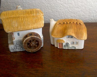 20% off Cottages / Village Ceramic Briton's Heritage In Porcelaster No 9 WaterMill No 3 Thatched Cottage Handpainted by E W Usher
