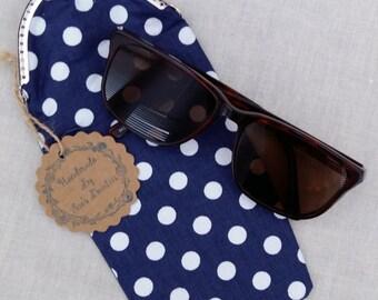 Navy Blue Polka Dot Liss Clasp Glasses Case/Sunglasses Case/Pencil Case/Eye Glasses Case
