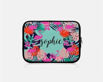 Custom iPad Sleeve, Flamingo iPad Sleeve, Monogram Tablet Sleeve, Tropical Tablet Sleeve, Flamingo Kindle Sleeve, Neoprene eReader Sleeve