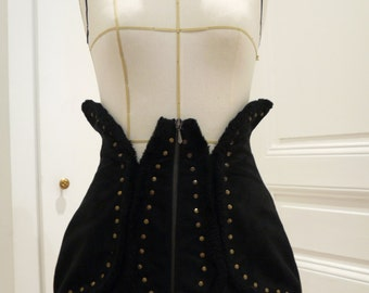 "Mini skirt ""BB"" Brigitte Bardot  black suede fake fur baby doll 60's sixties cabaret burlesque gothic steampunk"