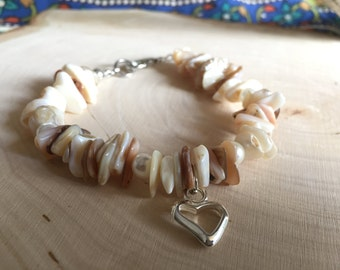 Shell and Pearl Charm Bracelet