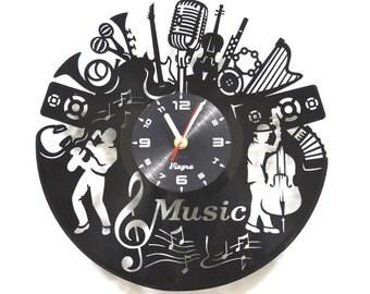 MUSIC Vinyl Record Clock Jazz Art Music Laser Cut Clock Vinyl Wall Decor Music Lover Gift for Her Music Art Music Home Decor Wall Decal