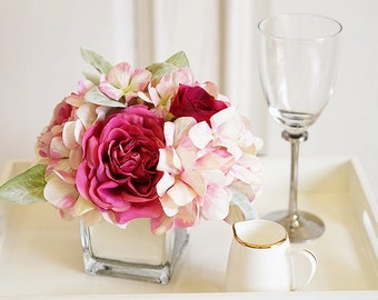 Artificial Rose with Glass Flower Pot
