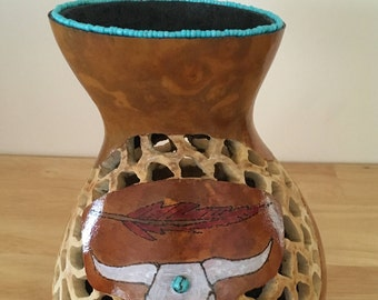 Hand Carved Buffalo Gourd Vase