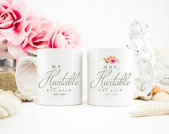 El Sr. y la Sra. Mug set, Sr. y Sra., su y suyo tazas, regalos de novia, novia y novio taza Set, regalos de recién casado, novia tazas, AAA_002