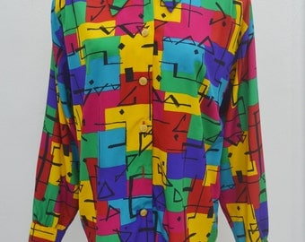 Braemar Petites Vintage Braemar Petites by JEREMY SCOTT Royalty Baroque Colorfull Abstract Print Big Collar Button Down Shirt Blouse Size L