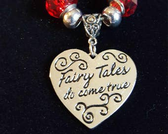 FAIRY TALE PENDANT Necklace - Heart Shaped Pendant - Fairy Tales do come true  - they do !!