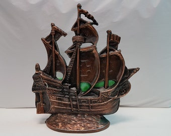 Vintage Spelter and Green Slag Glass Ship Lamp, Pirate Ship Lamp