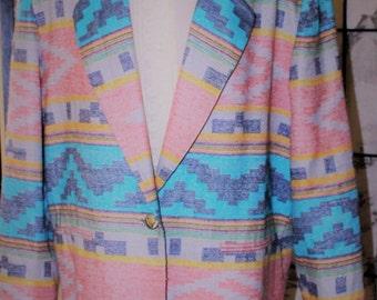 Retro Bill Blass Navajo Southwestern Print Blassport Blazer Jacket in Soft Tones size M/L