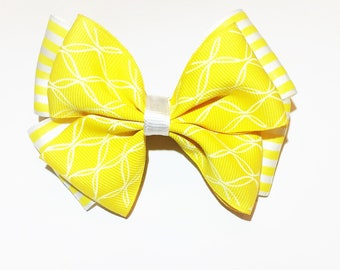 Yellow and White Summer Hair Bow