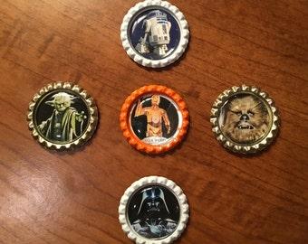 Handmade Star Wars BottleCaps Magnets, Set of 5