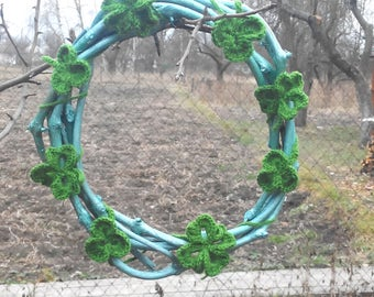 11 inch Mini Grapevine Shelf Wreath Crochet Four Leaf Clover Spring Wreath Easter WreathYear Round Wreath Rustic Décor St Patricks Day Gift