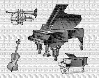 instant download,music instruments,clipart, scrapbooking,collage sheet,vintage picture,black and white,piano,horn,guitar,iron transfer