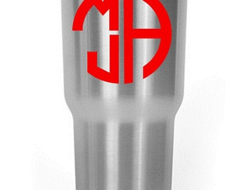 Custom Stacked Monogram Decal Yeti/RTIC/Corksicle/Ozark Cup