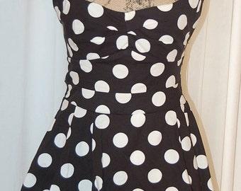 80's does 50's Bombshell wiggle dress in black & white polka dots | Women's bias cut sweetheart dress | Summer wedding guest | 2 | 4